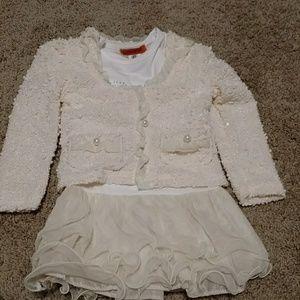 Cream Christmas dress and sweater